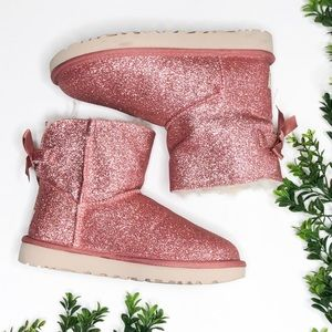 UGG Mini Bailey Bow Sparkle Pink Boot Size 6